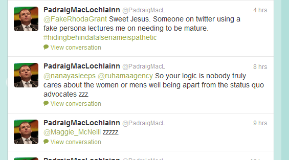 MacLochlainn's Twitter timeline becomes a catalogue of his derision for anyone disagreeing with the Swedish model